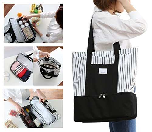 2-in-1 Large Insulated Cooler lunch Tote Bag Ladies Trendy Zippered Teacher Bag Utility Beach Tote Bag for (Insulated Cooler Pocket)