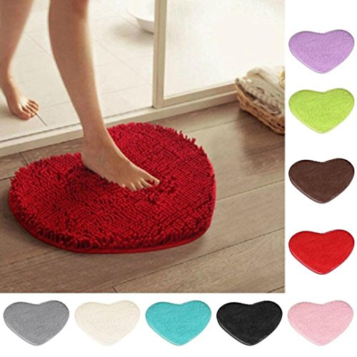 (Small Rugs And Mats,Sunbona Outdoor Indoor Heart Anti-Skid Fluffy Shaggy Area Rug Doormats For Bedroom ,Bathroom ,Kitchen Front Door Entrance Inside (Red))