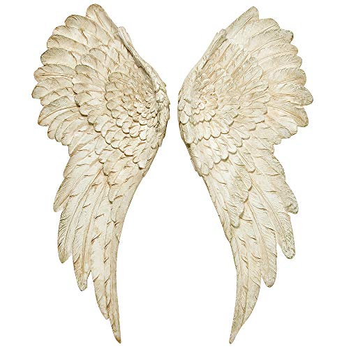 Angel Wings Wall (WHW Whole House Worlds Grand Tour Angel Wings, Vintage Style, Set of 2, Antique White, Artisinal Design, Hand Crafted, Bas Relief Sculptures, 21 3/4 Inches)