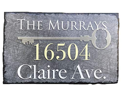 "Sassy Squirrel Beautifully Handcrafted and Customizable Slate Home Address Plaque (12'x8' or 16""x10"") Personalized House Sign with and mounting Hardware. Improve The Curb Appeal of Your Property"