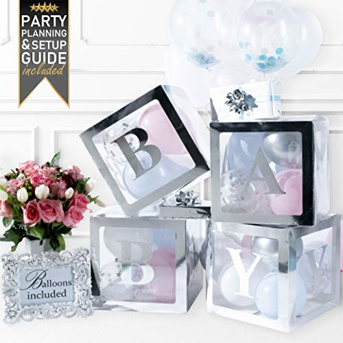 Baby Boy Party Favors Ideas (Baby Shower Decorations & Gender Reveal Party Supplies - 52 Piece Premium Silver Baby Balloon Letter Blocks for Girl & for Boy with Balloons Included - Party Decor, Favors &)