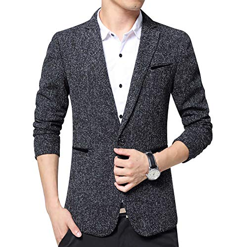 - Men's Blazer Jacket Slim Fit One Button Sport Coat Notch Lapel Casual Business Solid Single Breasted Outwear (Black01, L)
