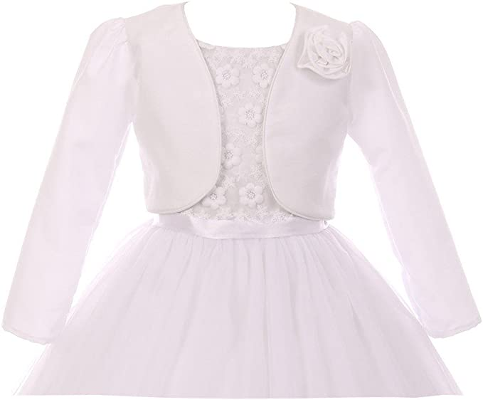 Kids Dream Big Girls White Rosette Accented Satin Long Sleeve Bolero 8-14