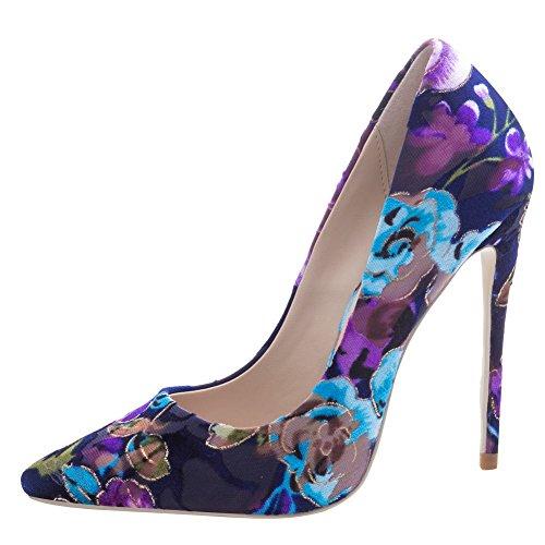 Carolbar Women's Fashion Sexy Printings Super High Heel Stiletto Court Shoes Multicolor-10cm LdaigjRi