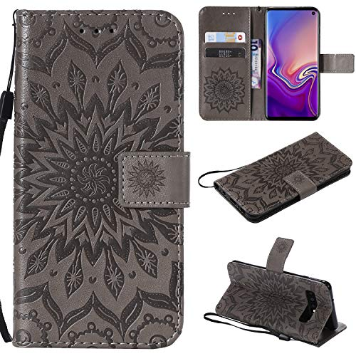 Price comparison product image NOMO Galaxy S10 Case, Samsung S10 Wallet Case, Galaxy S10 Flip Case PU Leather Emboss Mandala Sun Flower Folio Magnetic Kickstand Cover with Card Slots for Samsung Galaxy S10 Gray