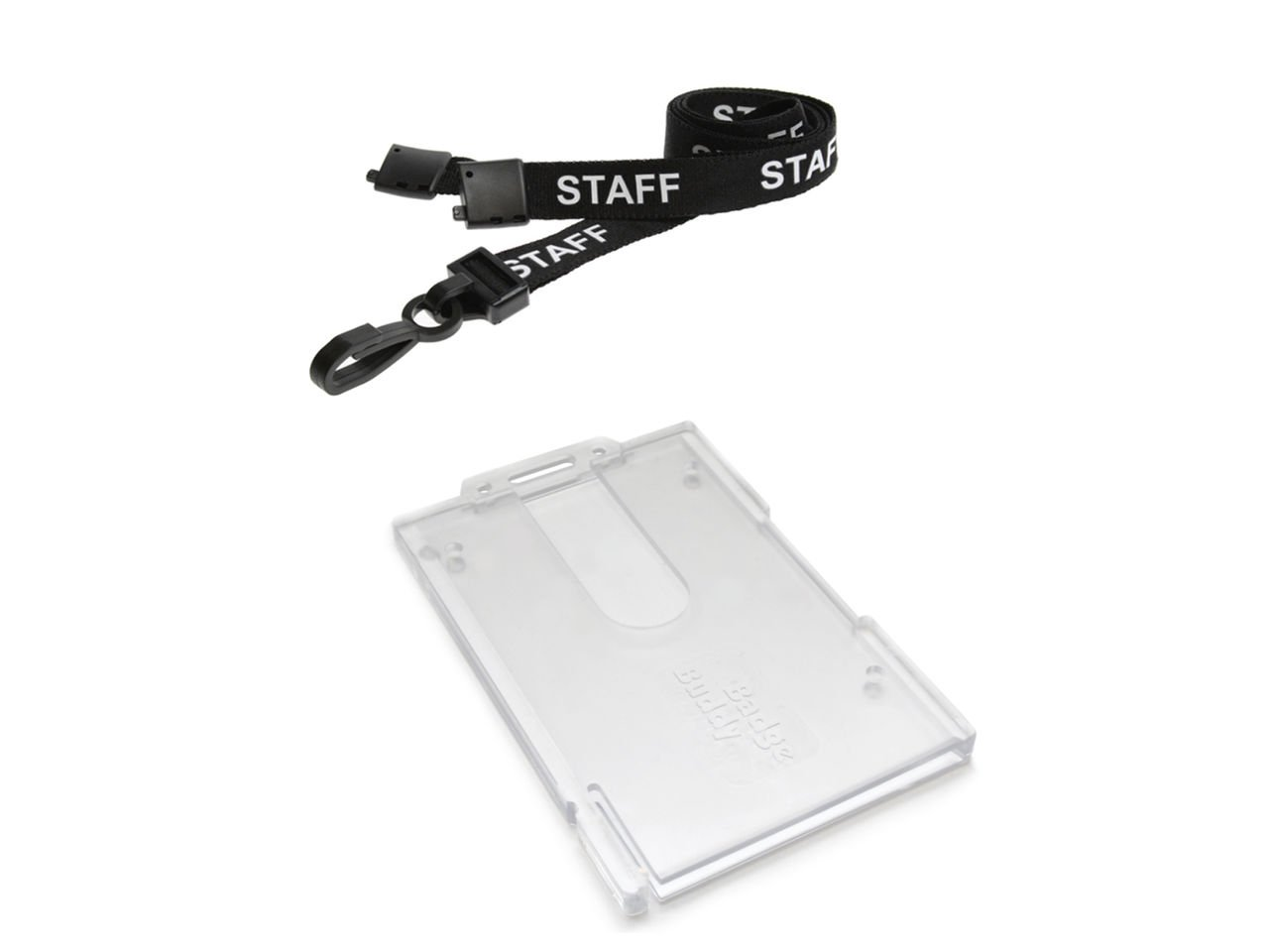 ID Card It ID Badge Holder Vertical Badge Buddy and Printed Black Staff Neck Strap Safety Breakaway Lanyard- 100