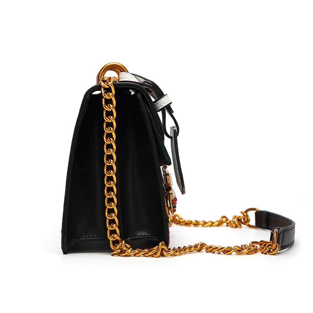 Kommschonff Women Messenger Bag Chain Package Shoulder Bag Contrast Color Bee Pattern Design Cross-Body Bags,White