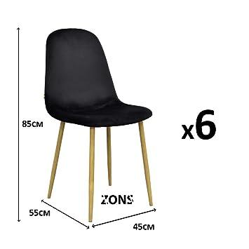 Zons Lot DE 6 Stockholm Chaise Velours SCANDINAVE 45 55 85CM Noir