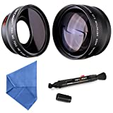 K&F Concept 52mm Digital High Definition Film Coated 2.2X Telephoto Lens + 0.45X Wide Angle Lens + Microfiber Cleaning Cloth + Cleaning Pen for Canon Rebel T5i T3i XTi XS T4i T2i XT SL1 T3 T1i XSi EOS 1000D 600D 450D 100D 650D 700D 550D 400D 500D 300D 1100D and Nikon D7100 D5100 D3100 D300 D90 D70s D40x D3X D7000 D5000 D3000 D300S D80 D60 D3 D5200 D3200 D700 D200 D70 D40 D3S