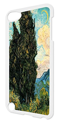 Artist Vincent Van Gogh's Cypresses TM White Plastic Snap-On Case For The Apple iPod iTouch 5th Generation Made in the - In Cypress Outlet