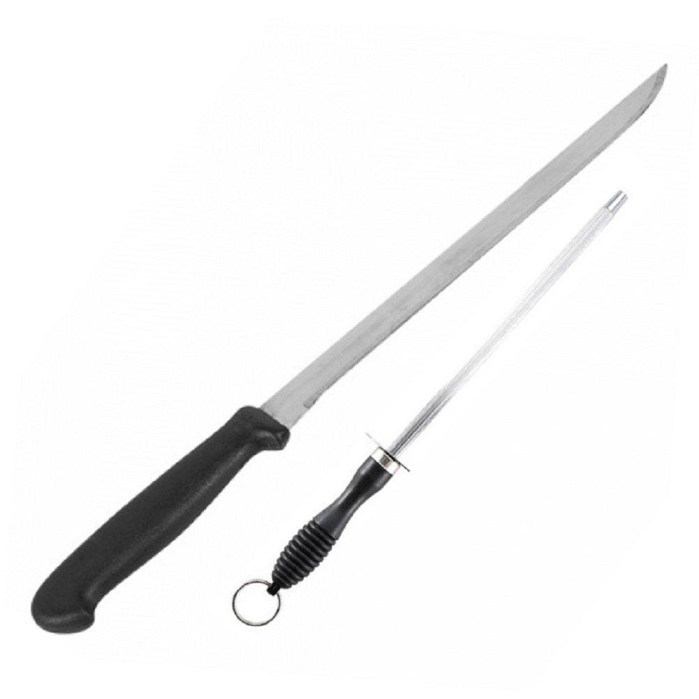 2pcs set ham knife and sharpener thin long sharp for serrano ham, salmon, beef, chicken sharp carving kitchen knife 35cm Truevine