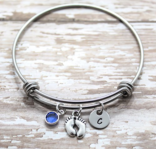 Baby Footprint Bangle Bracelet - Baby Feet Jewelry for Women