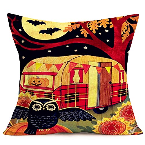 Aremazing Happy Halloween Camper Pillow Covers Cotton Linen Home Decor Pillowcases Autumn Travel Recreational Vehicle with Pumpkin Owl Bat Pattern Decorative Cushion Cover Pillow Case 18''x18''