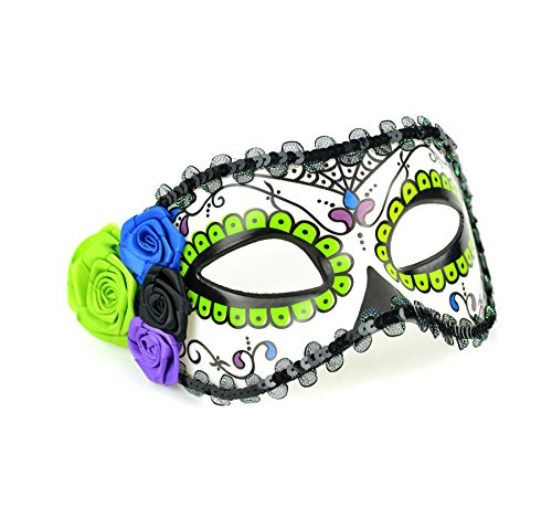 Mask-It 48010 Mask-It (Mau63) Mask-It Lime, Blue, black & Purple Day of The Dead Half Mask 7.5x3.5