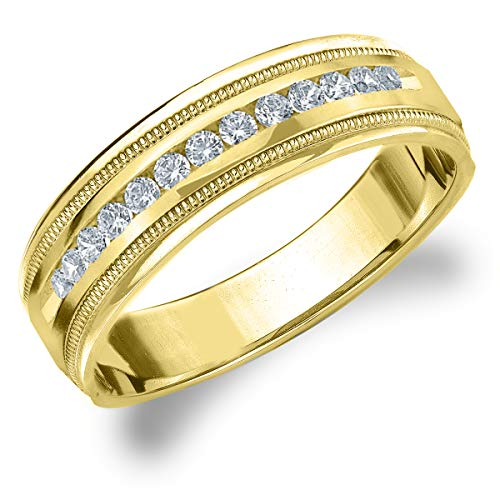 18k Gold Diamond Eternity Ring - Eternity Wedding Bands LLC 18K Yellow Gold Diamond Men's Polished Milgrain Band (.25 cttw, H-I Color, I1-I2 Clarity) Size 9