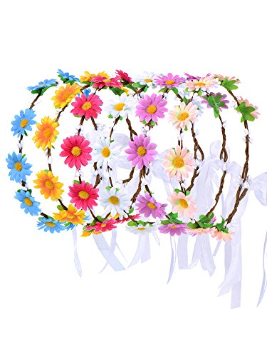 eBoot 6 Pieces Colorful Flower Headband Wreath Floral Crown Garland Headbands with Adjusting Ribbon for Festival Celebration (Floral Crown Diy)