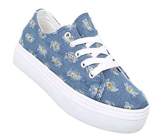 Damen Freizeitschuhe Schuhe Schnürer Loafar Slippper Blau 35 36 37 38 39 40 41 Hellblau