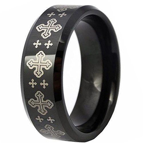 LAMUCH Mens 8mm Black Plated Tungsten Carbide Rings Laser Cross Pattern Wedding Bands Size 9 (Cross Plated Carbide Tungsten)