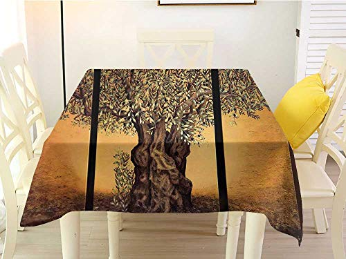 (L'sWOW Dustproof Square Tablecloth Tree of Life Triptych of an Old Mature Olive Tree Mediterranean Greece Style Nature Graphic Decor Multi Waterproof 70 x 70 Inch)