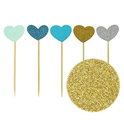 Bilipala Funny Hearts Cake Decorations Toppers Picks for Wedding and Baby Birthday, 50 Counting: Toys & Games