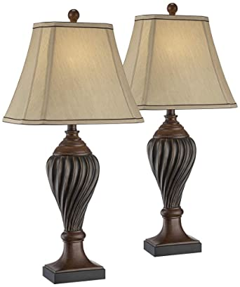Carved Two Tone Brown Table Lamp Set Of 2 Amazon Com