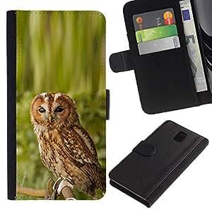 A-type (Enfriar impresionante Naturaleza Búho) Colorida Impresión Funda Cuero Monedero Caja Bolsa Cubierta Caja Piel Card Slots Para Samsung Galaxy Note 3 III