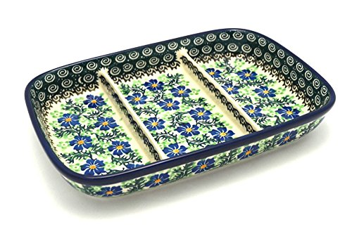 (Polish Pottery Dish - Divided Rectangular - Sweet Violet)