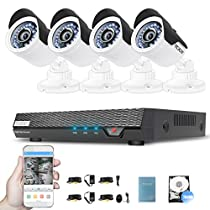 Video Surveillance System 750G Digital Video Recorder with 4 Weatherproof CCTV Cameras Day and Night Security Camera System Motion Alert Security DVR Kit