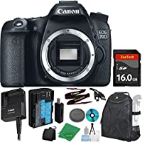 Canon EOS 70D Digital SLR with Full HD 1080p Video with Movie Camera Body (NO LENS), ZeeTech 6pc Starter Cleaning Set, Microfiber Cleaning Kit, Backpack Case for DSLRs, ZeeTech 16GB Memory Card