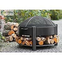 Brasero + Couvercle Pare-feu acier noir, avec étagère, bois