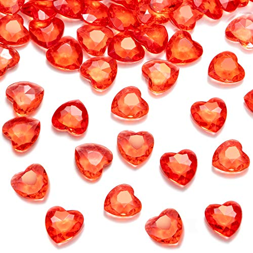 HAKACC Acrylic Diamonds for Valentines Day, 1000 PCS 12mm Red Crystal Heart Table Gems for Wedding Vases Decorations