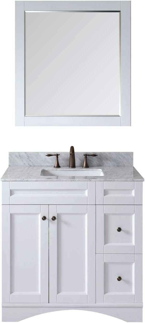 Virtu USA ES-32036-WMSQ-AWH Elise 36 Single Bathroom Vanity with Marble Top and Square Sink with Mirror, 36 inches, White