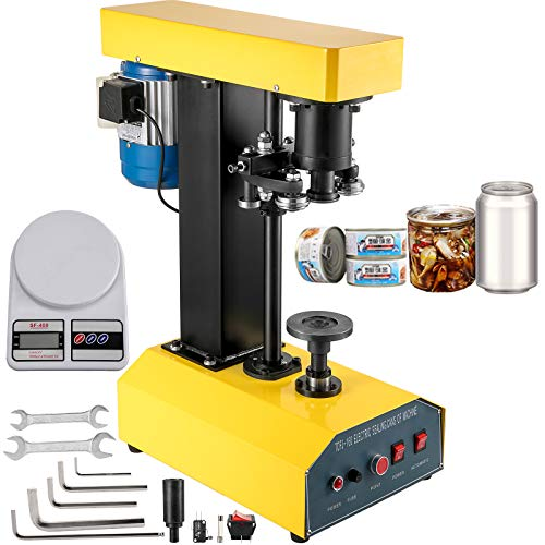 BestEquip Automatic Can Seamer 65mm Diameter Tin Can Sealer Machine 25-200mm Applicable Can Height Electric Can Sealer 370W Beer Can Seamer for Various Kinds of Iron Plastic Cans