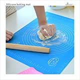 #10: Large Silicone Baking Mat for Pastry Rolling with Measurements Pastry Rolling Mat, Food Grade Reusable Nonstick Silicone Baking pad (blue) for Housewife Cooking Enthusiasts by GLLEEN