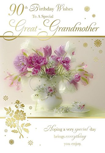 90th Birthday Wishes To A Special Great Grandmother Flower Vase Design Happy Card
