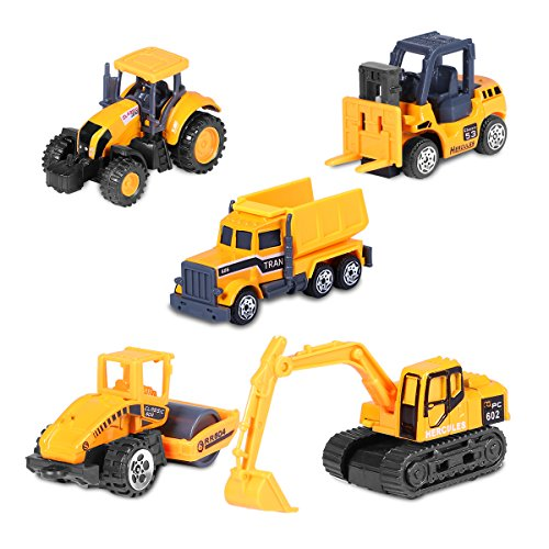 Engineering Construction Vehicles Set , ATESSON Diecast Metal & Plastic 5 Pcs Mini Artificial Model Toy - Bulldozer, Truck , Excavator , Forklift , Road Roller - Model Bulldozer