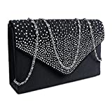 Diamante Clutch Purse Evening Bag Envelope Pleated Flap Handbag for Ladies Party Prom Tote