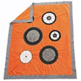 One Grace Place Teyo's Tires Medium Quilt, Black, White, Grey, Orange