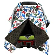 Dear Baby Gear Deluxe Car Seat Canopy, Minky Print Prehistoric Multicolored Dinosaur, Brown Minky Dot