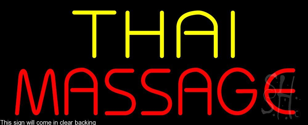 Thai Massage Clear Backing Neon Sign 13'' Tall x 32'' Wide