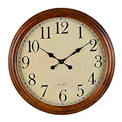 24-Inch Wood Large Decorative Wall Clock,Silent Non-Ticking Battery Operated for Decor