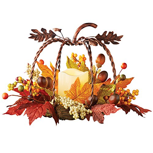 - Collections Etc Rustic Metal Pumpkin & Candle Fall Autumn Floral Centerpiece Thanksgiving Table Decoration