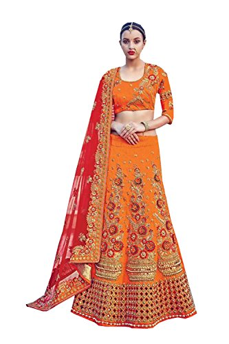 PCC Indian Women Designer Wedding orange Lehenga Choli K-4535-39589