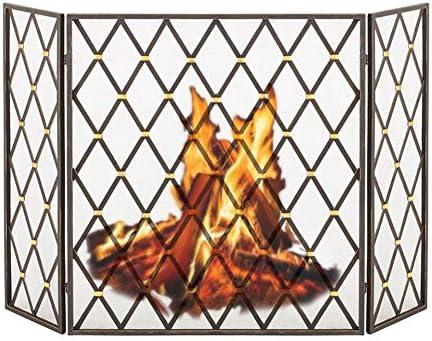 暖炉スクリーン 金属メッシュの3パネル暖炉スクリーン-リビングルームソリッドスパークガードカバーベビー安全錬鉄薪ストーブカバー、黒(73×25×80 Cm)