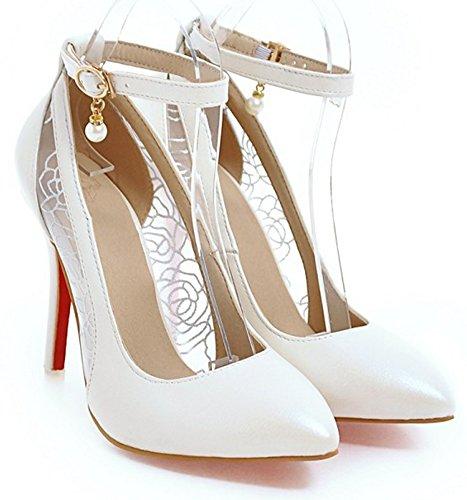Idifu Mujeres Mujeres Con Estilo Puntiagudo Tobillo Correa Stiletto Tacones Altos Colgantes Bombas Zapatos Blanco