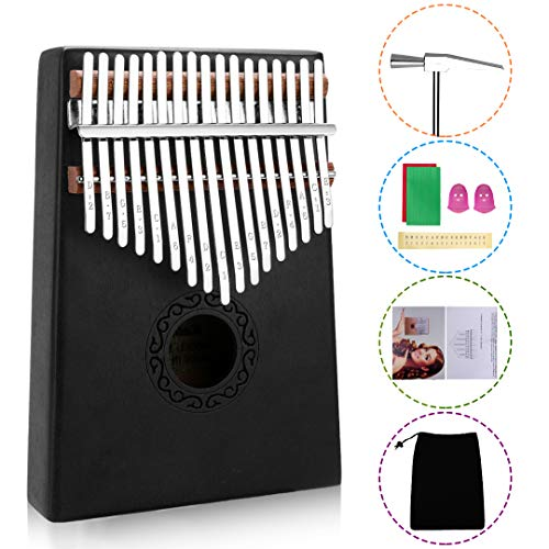 17 Keys Kalimba Thumb Piano, Mini Blue and Black Diy Kalimba 17 Key Thumb Kalimba Musical Instruments Solid Mahogany Wood Body Finger Piano Kalimba with Tune Hammer for Adults Kids Beginners(Black)