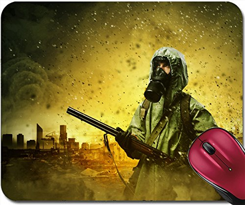 Liili Mousepad IMAGE ID: 21334911 Man in gas mask and camouflage holding Disaster concept