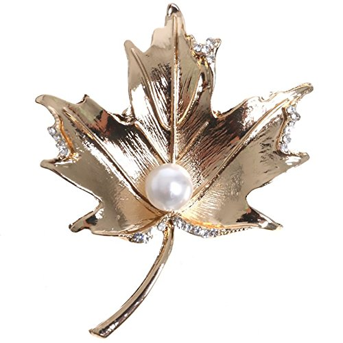 Brooch Jewelry Maple Leaf Pearl Rhinestones Crystal Gem Bling Novelty Fashion Pin (Maple Leaf)