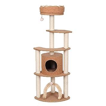 Árbol de Gato Estructura de Escalada para Gatos, Tela de Corcho Sisal Torre de árbol de Gato, Resistente al Rayado (Color Roble) a1 Gatos Casas: Amazon.es: ...