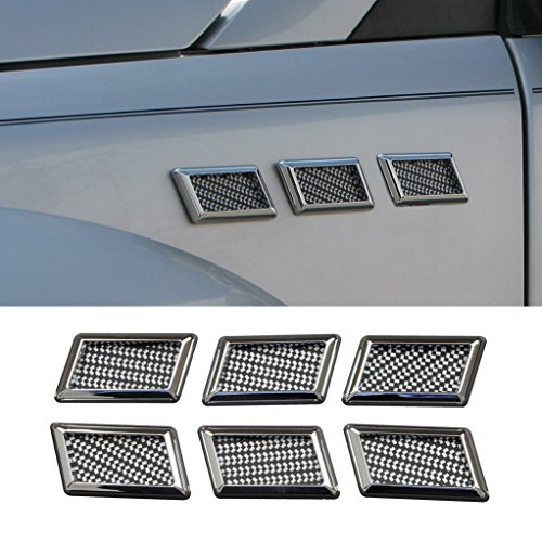E-Autogrilles Car Universal Chrome Rectanglar Style Air Flow Fender Side Vents Decoration (6PCS) - Side Chrome Vent
